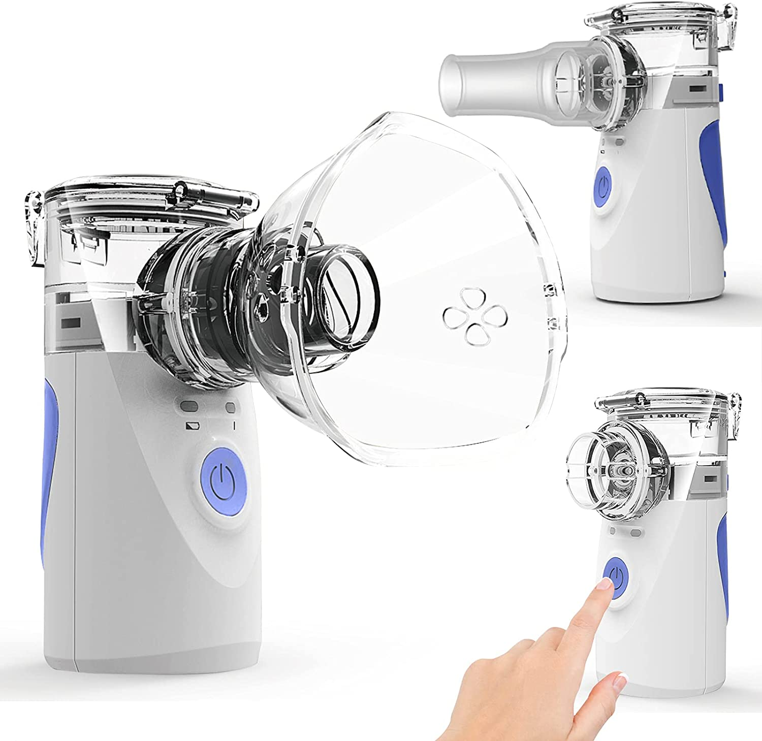 Ultrasonic Portable Nebulizer, Handheld Nebulizer of Cool Mist, Small Nebulizer with Two Modes for Breathing Problems, Used at Home, Office, Outdoor(Blue) : Clothing, Shoes & Jewelry