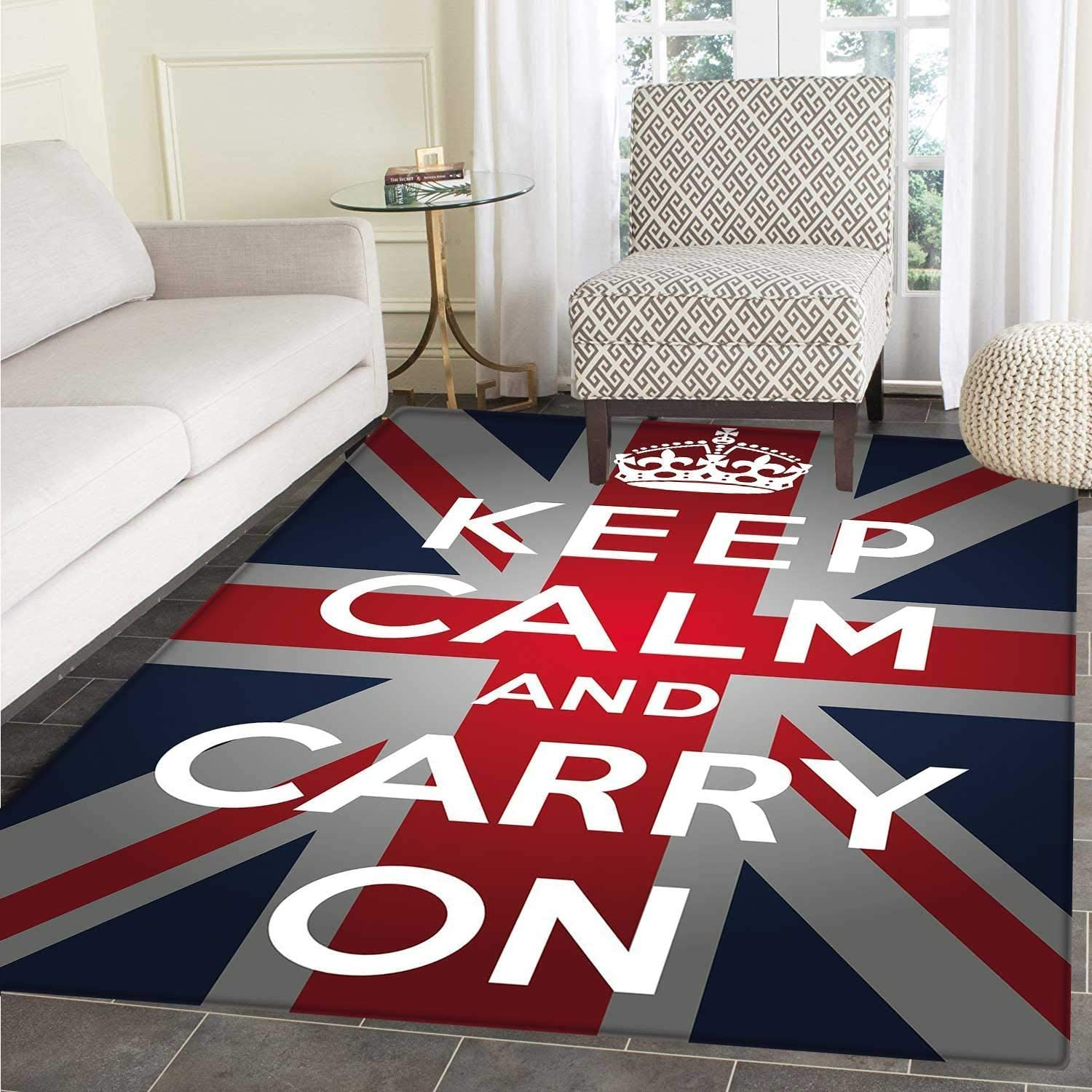 Union Jack Small Rug Carpet Keep Calm Cary On Quote Crown Figure United Kingdom Britain Flag Floor Mat Rug Indoor Front Door Kitchen Living Room Bedroom Mats Rubber Non Slip