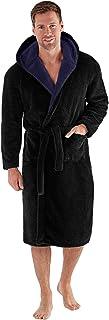 Snuggaroo Mens Soft Fleece Long Sleeve Winter Hooded Dressing Gown Black/Navy XL