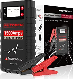 AUTOGEN 1500A 18000mAh Smart Portable Car Jump Starter, 12V Lithium Battery Charger, Power Bank Jumper Box Pack Booster for Cars Trucks SUV, With Large LCD Screen, Rubber Case, Water Resistance