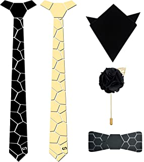 HEX TIE Men Mirror Neck Tie Pre Tied Reversible Hex Tie, Pocket Square, Lapel Pin and Bow Tie (Gold, Free Size)