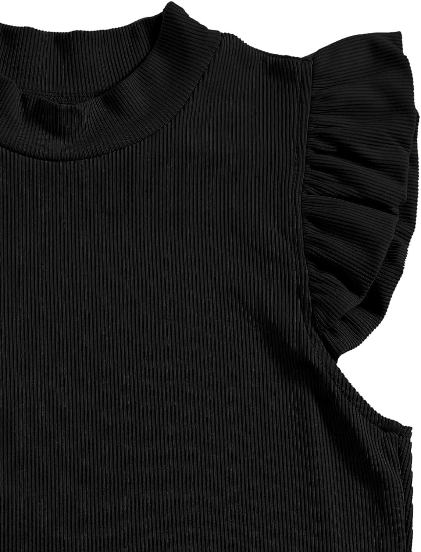 Verdusa Women's Mock Neck Ruffle Sleeve Rib Knit Crop Tank Top