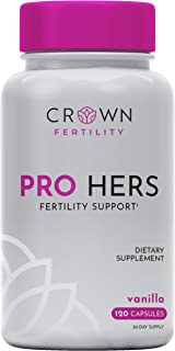 Crown Fertility PRO Hers Female Fertility Supplement to Increase Conception and Fertility Support by Helping Aid Egg Quality- 120 Capsules (30-Day Supply) - Packaging May Vary