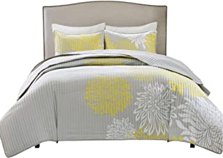 Comfort Spaces Enya 3 Piece Quilt Coverlet Bedspread Ultra Soft Floral Printed Pattern Bedding Set, Full/Queen, Yellow-Grey
