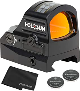 HOLOSUN HS507C-V2 Multi Reticle Classic Red Dot Sight + 2 Additional CR1632 Coin Batteries + Lens Cleaning Cloth
