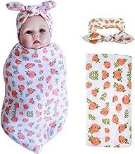 Baby Receiving Blanket Headband Set Newborn Flower Print Swaddle Blankets Sleeping Bag