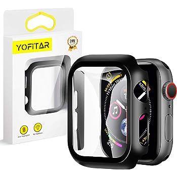 【2枚セット】YOFITAR Apple Watch 用ケース 42mm アップルウォッチ保護ケース ガラスフィルム 一体型 series3 series2 series1全面保護 超薄型 装着簡単 耐衝撃 高透過率 指紋防止 (Series1/2/3 42mm,ブラック)