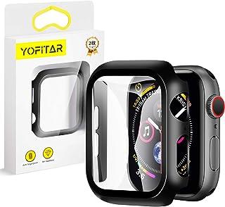 【2枚セット】YOFITAR Apple Watch 用ケース 44mm アップルウォッチ保護ケース ガラスフィルム 一体型 series4 series5 全面保護 超薄型 装着簡単 耐衝撃 高透過率 指紋防止 ブラック