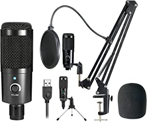 TDBEST USB Microphone Kit Condenser Computer Cardioid Mic, with Mute Key, Mic Gain/Echo Knob, Adjustable Microphone Suspension Scissor Arm Shock Mount, Mic for YouTube/Gaming, Podcast (Black)