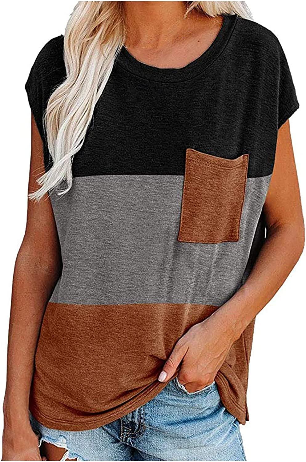 FABIURT Womens Short Sleeve Tops,Women Color Block Printed T Shirt Summer Casual Loose Tee Blouse Tunic Tops with Pocket