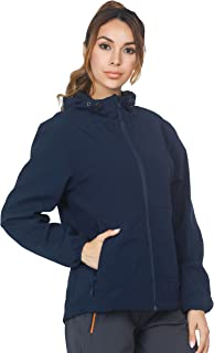 MIER Women's Windproof Softshell Jacket with Hood Fleece Lined Warm Up Jacket, Water Resistant and Zip Front