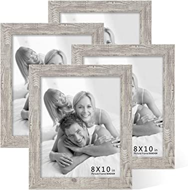 BOICHEN Picture Frames 8x10 (4-Pack) - Rustic Distressed Farmhouse Frame - Photo Frame with Glass Cover Ready to Hang or Stan