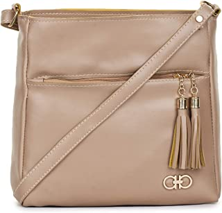 GLOSSY Women's PU Sling Bag with 4 Zip Compartments (Beige)