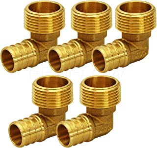 Everflow PXML3410-5 PEX Barb X MIP 90 Degree Elbow Pipe Fitting, 3/4 x 1, Brass, Pack of 5