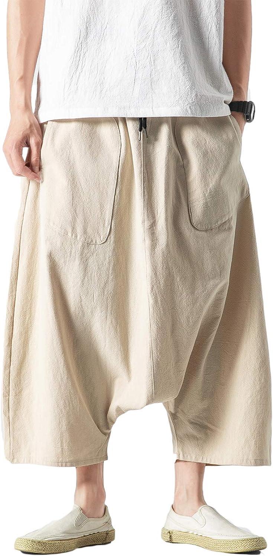 DOSLAVIDA Men's Baggy 全店販売中 Harem Low Crotch 価格交渉OK送料無料 Ho Pants Hip Cotton Linen