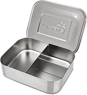 LunchBots Medium Trio II Snack Container - Divided Stainless Steel Food Container - Three Sections for Snacks On the Go - Eco-Friendly, Dishwasher Safe, BPA-Free - Stainless Lid - All Stainless