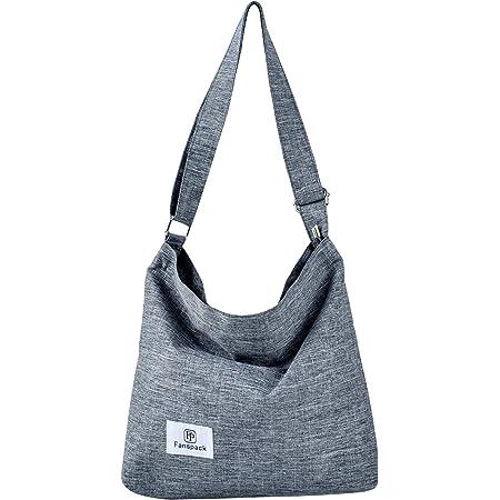 Fanspack Umhängetasche Damen, Canvas Tasche Umhängetasche Canvas Hobo Bag Crossbody Bag Damen Handtaschen Damen Canvas Damentaschen Groß Kapazität Schultertasche (Grau)