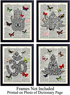 Zen Unframed Dictionary Wall Art Prints - Butterflies - Perfect Gift for Meditation, Yoga or Zen Enthusiasts - Chic Home or Studio Decor - Set of Four - Ready to Frame (8x10) Vintage Photos