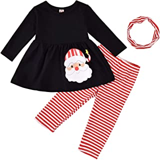 TROSJ Thanksgiving/Christmas Outfit Toddler Baby Girl Long Sleeve Snowman Dress Snowflakes Pants Fall Winter Clothes