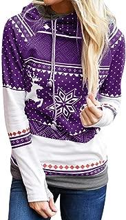 VEKDONE Women's Fall Hoodie Tops Christmas Tree Reindeer Snowflake Printed Long Sleeve Hooded Sweatshirt Pullover