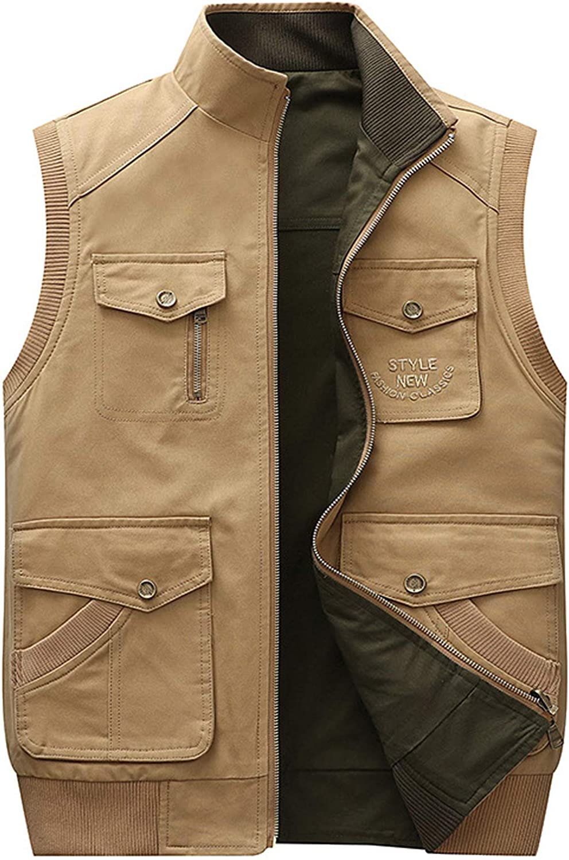 chouyatou Men's Outdoor Sports Zipper Multi-Pocket Reversible Wild Twill Work Vest Jacket