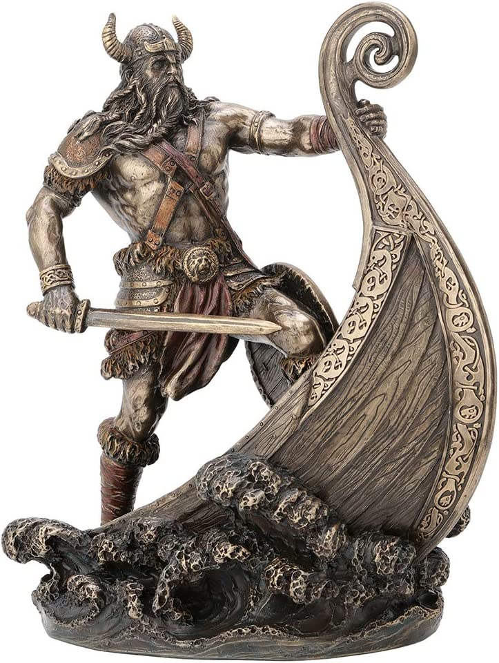 Veronese Design 9.5 Inch Norse Viking Warrior Standing On Long Ship Prow Antique Bronze Finish Statue