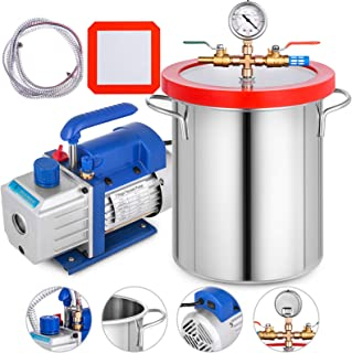 Bestauto Stainless Steel Vacuum Pump 3 Gallon Degassing Chamber Kit 3CFM Vacuum Pump (3 Gallon 3 CFM)