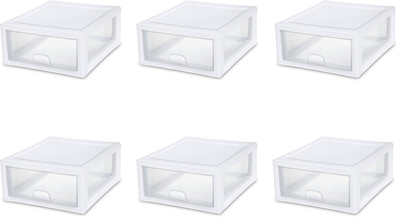 Sterilite 23018006 16 Quart 15 Liter Stacking Drawer, White Frame with Clear Drawers, 6-Pack