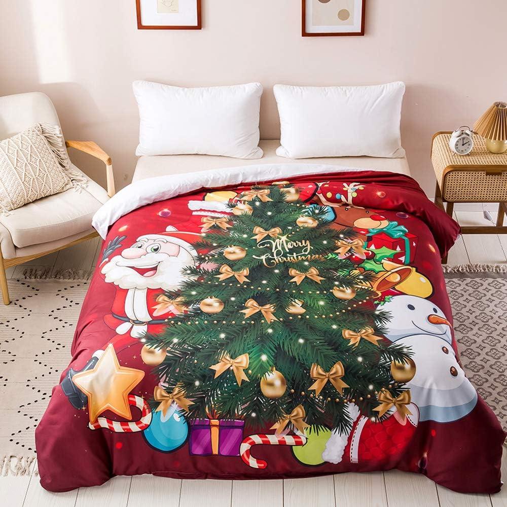 200 x 200 cm Set copripiumino con motivo natalizio motivo Babbo Natale 100/% microfibra di poliestere OLDBIAO