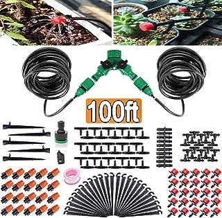 FAMI HELPER 100ft/30M Garden Irrigation Kit - DIY Plant Watering Drip Sprinkler System with 2-Way Hose Splitter, 1/4