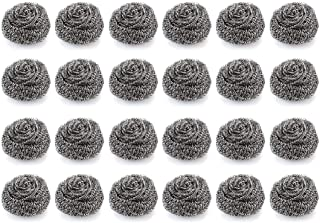 Lawei Pack of 24 Stainless Steel Scourer - Handle 30 Gram Weight - Large Kitchen Cleaning Tool Steel Wool Scrubber for Clean Pot, Pans, Grills and Oven