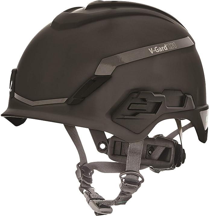 Elmetto di sicurezza per arrampicata - ventilato - nero - 52-64 cm msa v-gard h1 trivent 10194790