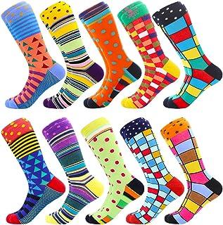 Men's Fun Dress Socks, Colorful Funky Socks for Men, Fancy Novelty Funny Patterned Casual Combed Cotton Office Socks,Mid C...