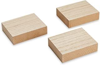 Juvale Unfinished Wood Blocks - 3-Pack Rectangular Wooden Blocks, for Sign Block DIY Craft, Kids Game, 3.88 x 3.1 x 1 Inches