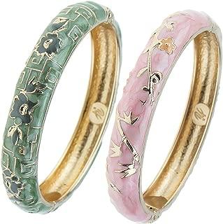 Elegant Bracelet Gold Plated Enameled Jewelry Spring Hinge Metal Cuff Cloisonne Bangles Set 2 PCS Gift Box Packed 55A114