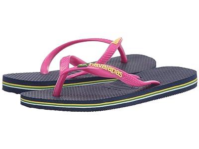 Havaianas Kids Slim Brazil Flip-Flop (Toddler/Little Kid/Big Kid) (Navy Blue) Girls Shoes