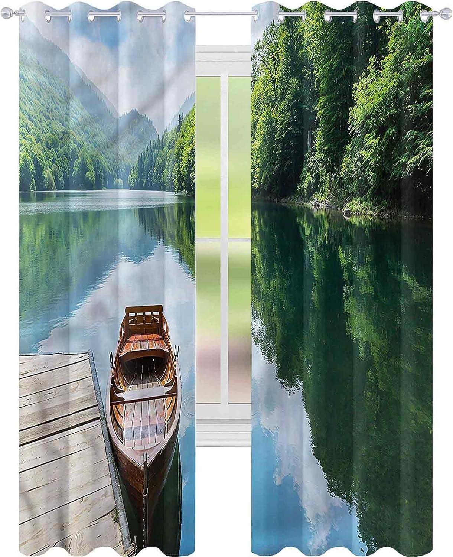 Blackout Window Free shipping Curtain Low price Lake Wooden Boat L84 Biograd W42 Pier x