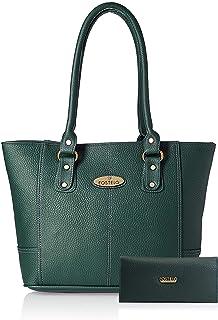 Fostelo Women's Combo Handbag & Clutch (Green & Green) (FSB-1494-FC-37)
