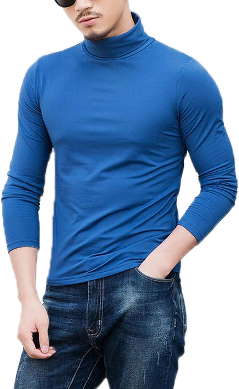 Elonglin Men's Long Sleeve T-Shirt Basic Slim Fit Thermal Turtleneck Pullover