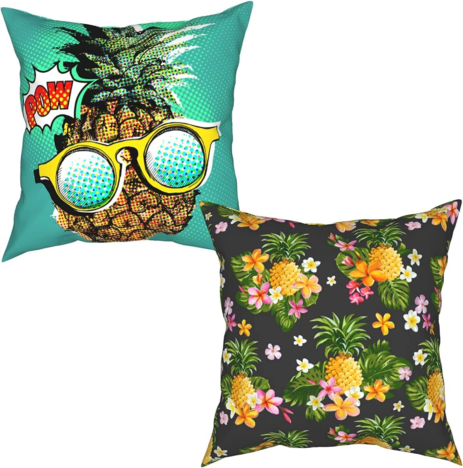 Pineapple with Sunglasses Max 80% OFF Green Pillow Outdoor 70% OFF Outlet Covers Pill Throw