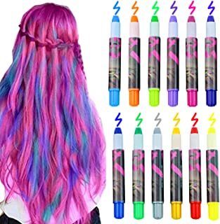Bearbro 12 Color Temporary Hair Chalk Gift Set for Kids Colorful Temporary Non-Toxic Portable Hair Coloring Chalk Pens Christmas Birthday Gifts Present for Girls (12 Color)