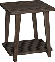 VASAGLE Bamboo Side Table, 2-Tier End Table with Cell Phone Slots, Nightstand with Holes for USB Cables, 19.7 Inch Stable Bedside Table, Tower Design, for Living Room, Bedroom, Walnut Color ULET100WN