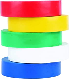 Cambridge Vinyl Electrical Tape 1/2 Inch by 20 Feet per Roll, 7mil Thickness; 5 Roll Pack Assorted 1 Each of Yellow Green ...