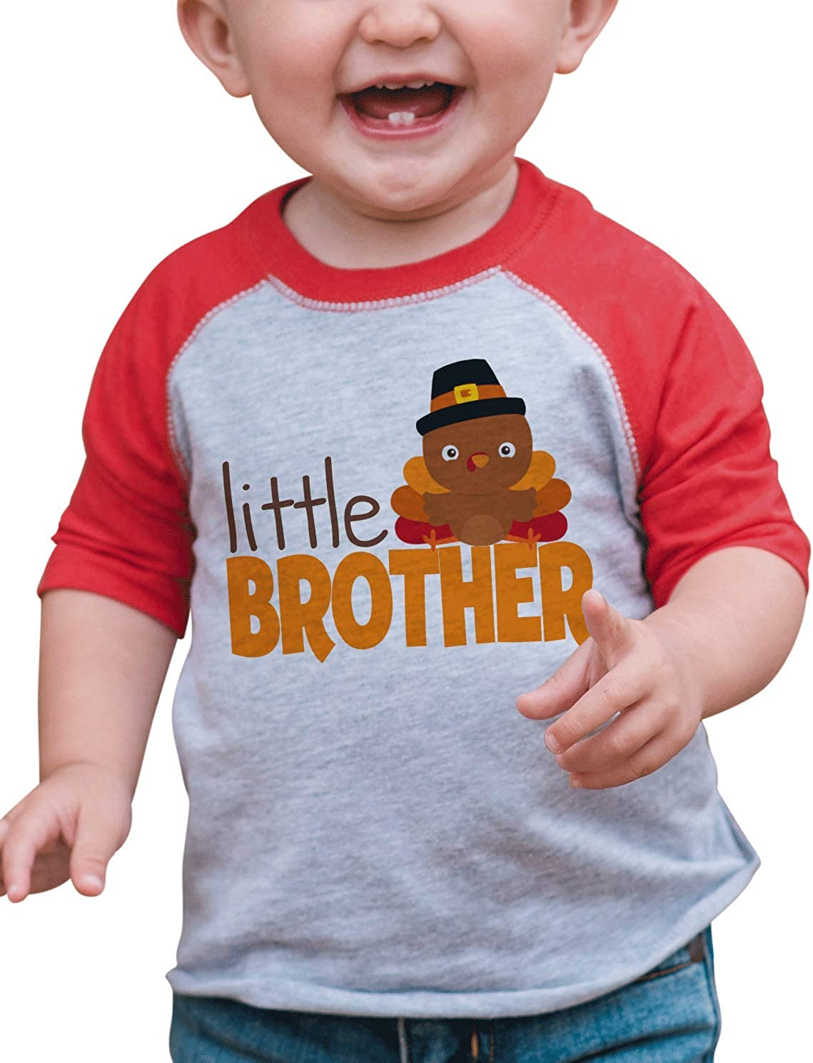 7 ate 9 Apparel Baby Boy's Little Brother Thanksgiving Red Raglan