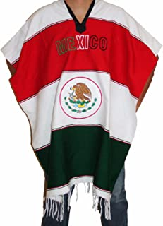 Oro Import Warm Mexican Flag Mexican Poncho Gaban Heavy Blanket Cape Ruana One Size