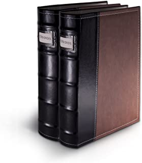 Bellagio-Italia Brown DVD Storage Binder Set - Stores Up to 96 DVDs, CDs, or Blu-Rays - Stores DVD Cover Art - Acid-Free S...