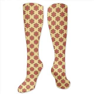 Compression Socks,Floral Like Artful Surreal Traditional Symmetrical Arabian Medieval Illustration