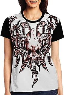 Women's T Shirts,Goat Skull Shaped Swirl Blur Lines in Digital Watercolor Stylized Artsy Design Print