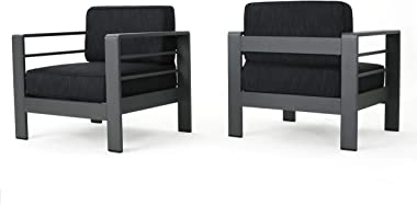 Christopher Knight Home Crested Bay Outdoor Aluminum Club Chairs with Water Resistant Cushions, 2-Pcs Set, Grey / Dark Grey