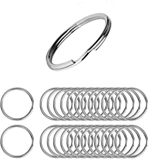 Flat Key Rings 50 Pieces 1 inches Flat Key Rings Metal Keychain Rings Split Keyrings Flat O Ring for Home Car Office Keys Attachment(Silver)